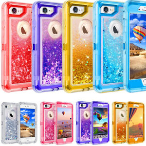 the latest c5361 d8ca8 Details about For iPhone 8 Plus Glitter Quicksand Liquid Defender Case Belt  Clip Fits Otterbox