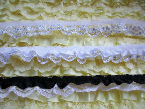 Lovely ruffled lace trim 1//2 inch wide  = selling by the yard //select color//