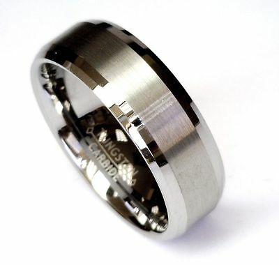 AMZ 8Mm Tungsten Carbide Beveled Comfort Fit Wedding Band Ring Brushed Center