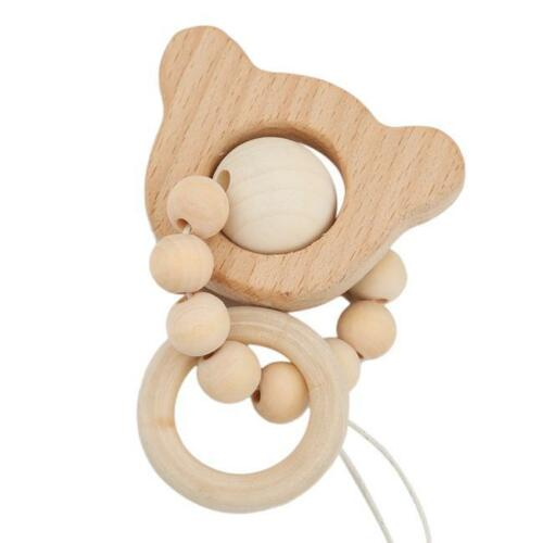 New Baby Animal Shape Wooden Beads Teether Ring Infant Teething Bracelet Toys 6A