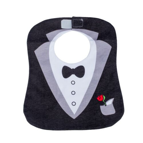 2X Black Cute Tuxedo Toddler Nutrition Baby Bib  G6C1