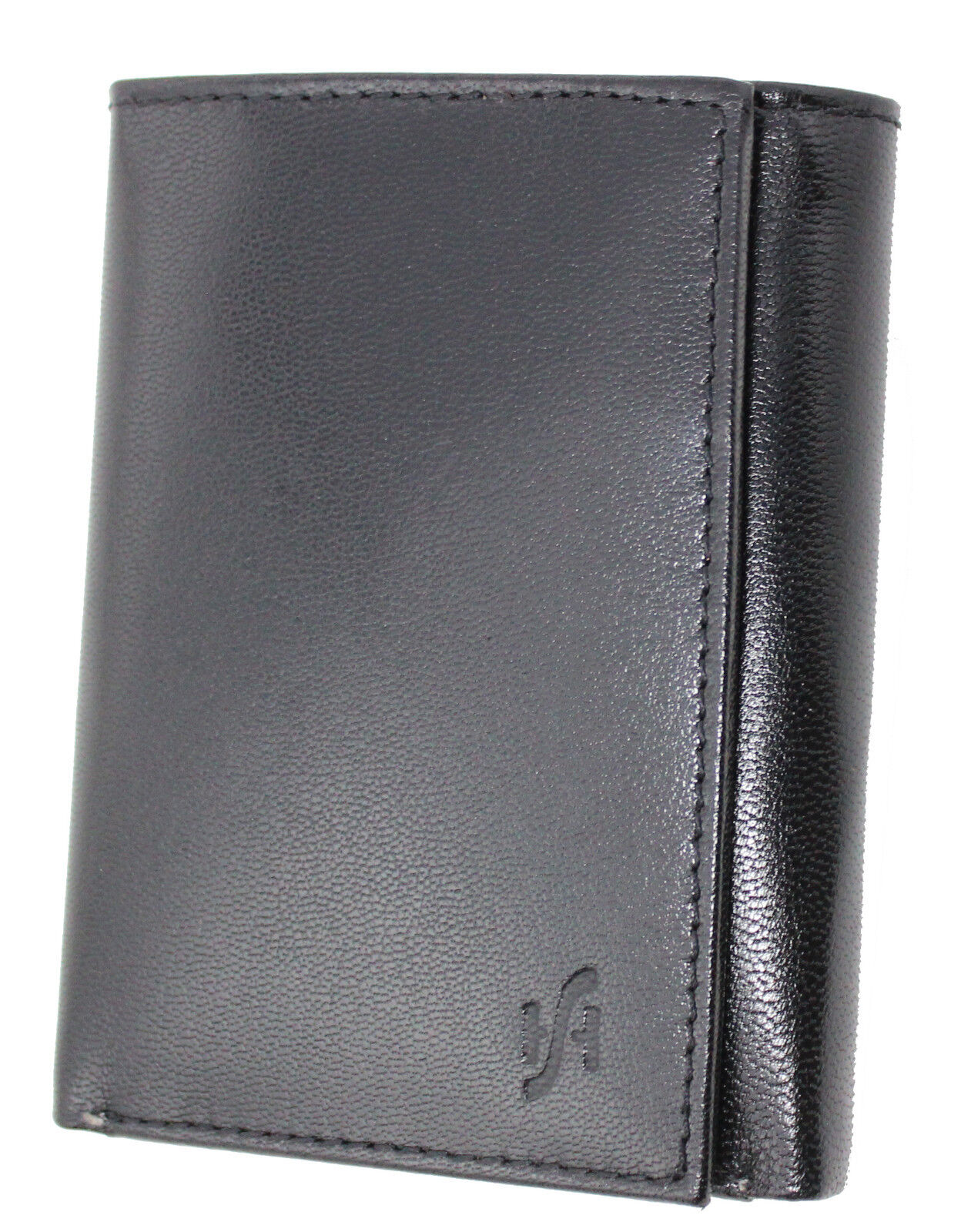 Mens RFID Blocking Black Green Leather Wallet