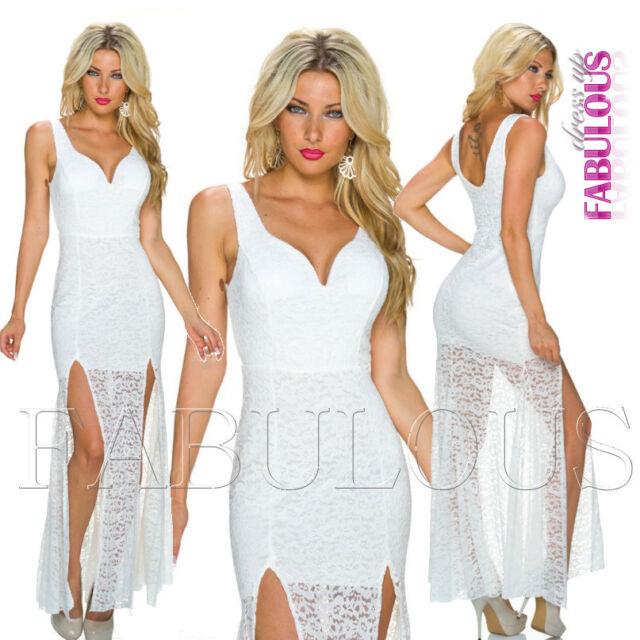 Sexy European Floral Lace Front Split Maxi Dress Size 8 10 S M Christmas Formal