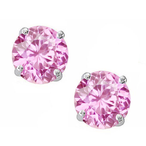 925 Sterling Silver Sapphire Round Stud w// Screw Back Earrings Solid Setting