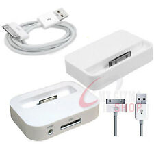 WHITE CHARGING DOCK DESKTOP CRADLE USB CABLE FOR IPHONE 3G 4 4S IPOD TOUCH NANO