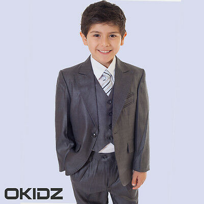 Exquisite 5PCS BOYS High Quality Fabric Welting Edge Formal Wedding Suit SZ 2-13