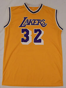a9eb17a9171 Magic Johnson #32 Signed Autographed on L A Lakers Basketball Jersey ...