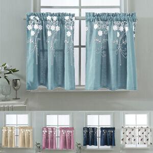 Détails sur 1pc petite fenêtre rideaux déco chambre salle de bain demi  Court Fleur cutains- afficher le titre d\'origine