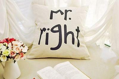 Mr right Couple Cushion Cover Linen Cotton Waist Pillow Case Sofa Bed Home Décor