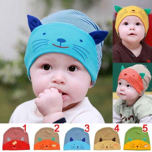 Knitted For Girls Boys Stripe Kids Girl Cat Beanie Toddler Baby Cap Cotton Hat