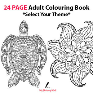 Adult Colouring Book Therapy Book 24 Page Garden Animal Tribal ...