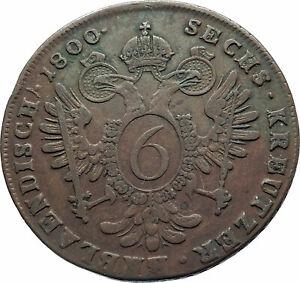 1800B-AUSTRIA-w-Emperor-Franz-II-Hapsburg-Antique-6-Kreuzer-Austrian-Coin-i78596