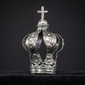 Corona-de-plata-esterlina-solida-Antiguo-italiano-Madonna-Santo-1700s-1800s-5-034