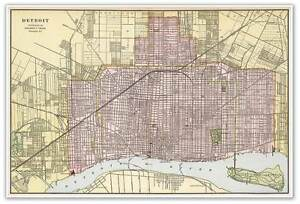 George Cram\'s DETROIT Michigan Downtown Street Map Poster Print ...
