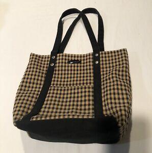 Longaberger Homestead Tote/Bag Black & Tan Plaid 11x9
