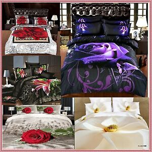 doppelbett gr e blumen rose lilie 3d bettw sche set hochzeit neu designs ebay. Black Bedroom Furniture Sets. Home Design Ideas