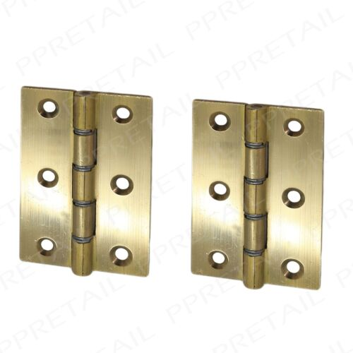 "Heavy Duty Pair Of SOLID BRASS Door Butt Hinges 1/""//1.5/""//2/""//2.5/""//3/""//4/"" Strong DSW"