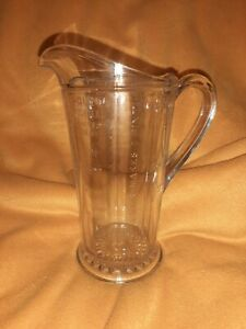 "Vintage Depression Era Glass Measuring Pitcher 1 quart 8.5"" tall"