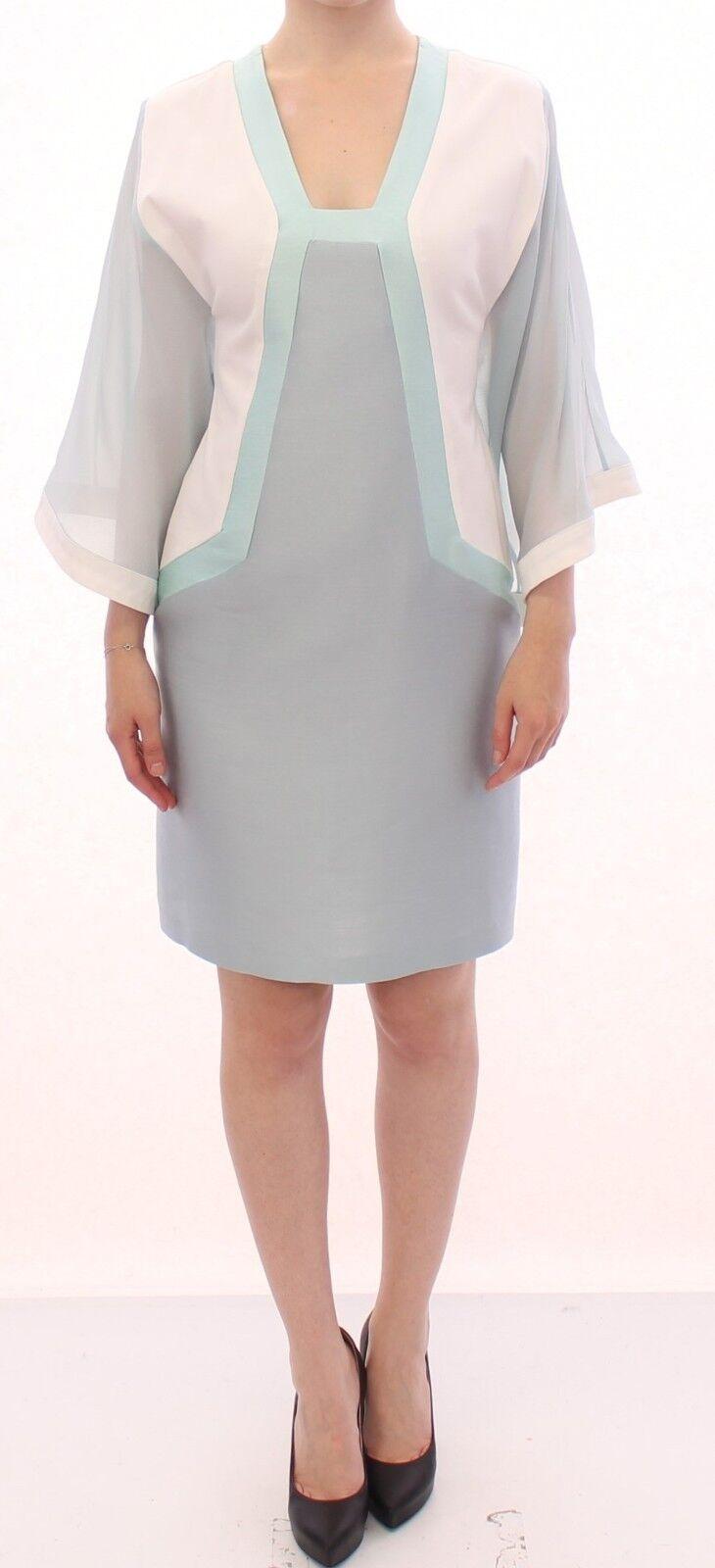 NWT  SERGEI GRINKO Turquoise White Silk Sheath Formal Dress IT40   US 6   S