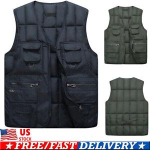Men-039-s-Cargo-Multi-Pockets-Vest-Top-Fishing-Waistcoat-Cargo-Outdoor-Vest-Coat-US