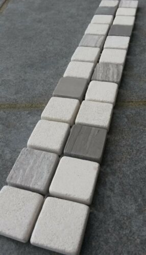 Mosaik Bordüre 5x30 Naturstein Fliesen Yawood Grau//Creme Beige Dusche B033 NEU