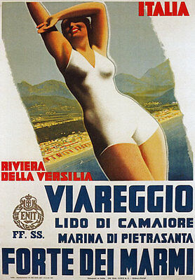 TV52 Vintage A4 1930's Viareggio Riviera Versilia Italy Italian Travel Poster