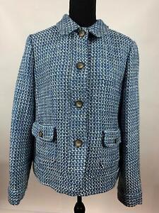 Talbots Blue White Textured Cotton Knit Buttons Blazer Jacket Womens Size 12