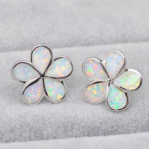Elegant White Fire Opal 5 Petals Bloom Floral Stud Earrings 925 Sterling Silver