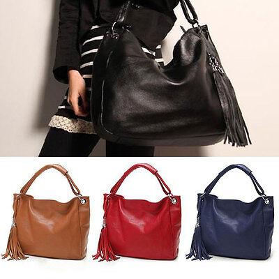 Women Hobo Large Leather Shoulder Bag Messenger Purse Tote Tassel Handbag