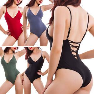 Costume donna intero da bagno moda mare piscina swimwear stringato SE888121
