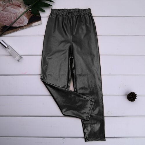 US Kids Girls Metallic Stretchy Leggings Shiny Pants Skinny Gym Dance Trousers