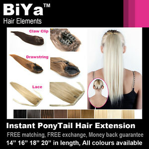 PONYTAIL-14-16-18-20-CLIP-IN-ON-HAIR-EXTENSIONS-PIECE-LONG-STRAIGHT-COLOUR