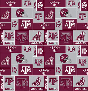 College University Of Texas Am Aggies Print Fleece Fabric By The