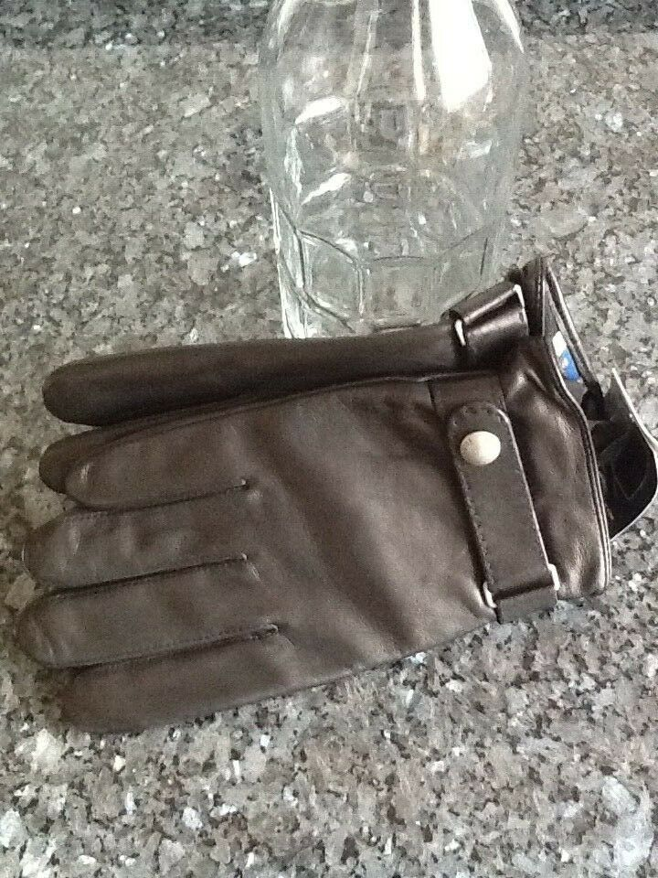 Ralph Lauren Men's Leather Gloves Large Black Thinsulate / Touch Compatible