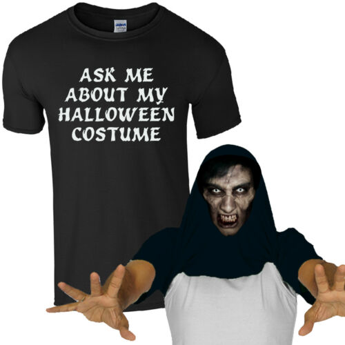 Ask Me About My Halloween Costume Scary Face T-Shirt Funny Zombie Mens Flip Top