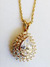 "Gold plate metal Pear cut Brillian CZ Pyramid style pendant 17.5""L necklace"