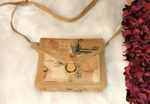 MARCHINO Leather Map Print Crossbody Bag