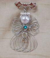 Ovarian Cancer Awareness Hope Ribbon Angel Pin Brooch Handmade