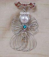 Ovarian Cancer Awareness Hope Ribbon Angel Pin Brooch Handmade