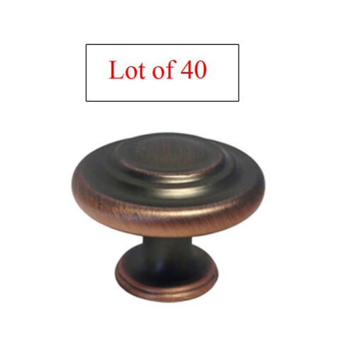 Lot of 40  Oil Rubbed Bronze Kitchen Bathroom Round Ring Cabinet Knobs 32mm