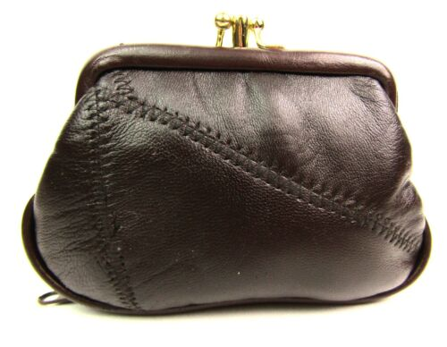 Ladies Small Genuine Leather Patchwork Purse Clip Top Twin Pouches Bottom Zip