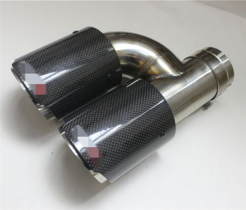 Pair Black Glossy Car Exhaust Tip Dual Pipe Tail Muffler Carbon Fiber Left+Right