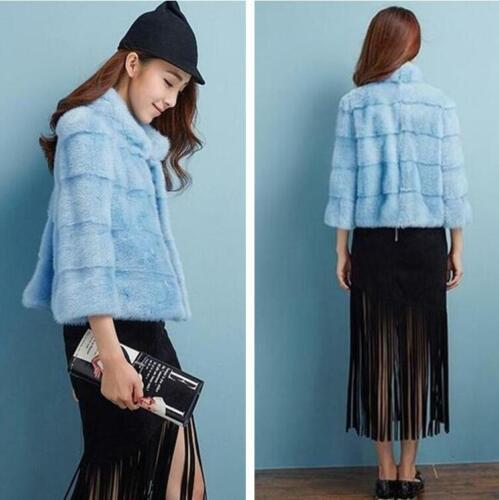 New Mink Fur Coat Fashion Winter Women Short Jacket Parka Party Chic Outwear New