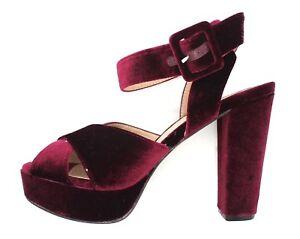 3e59a20ea26 Details about Evans Jayden Womens UK 8 Red Velvet High Block Heel Platform  Shoes Sandals