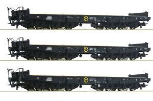 Roco-H0-76758-S-Schwerlastwagen-034-Samms-034-der-DB-6-achsig-3-Stueck-NEU-OVP