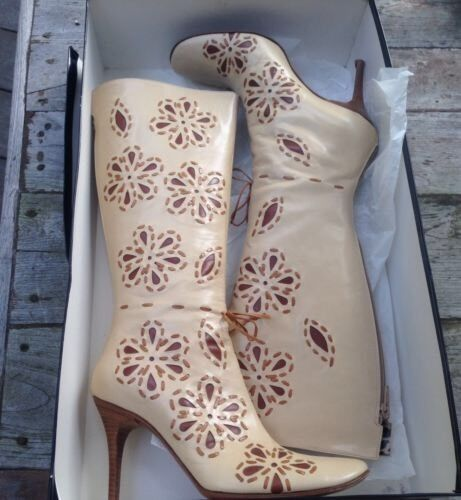 Sara & Co Tacón mujer  899 Cuero Tacón Co Alto botas Zip Bordado Floral 206adf