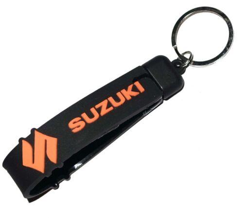 Suzuki Inspired Keychain Double Sided Silicon Rubber Keyring S orange Logo S2u