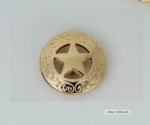 3PC 28mm Solid Brass Western Texas Star Conchos Leathercraft stud Punk screw