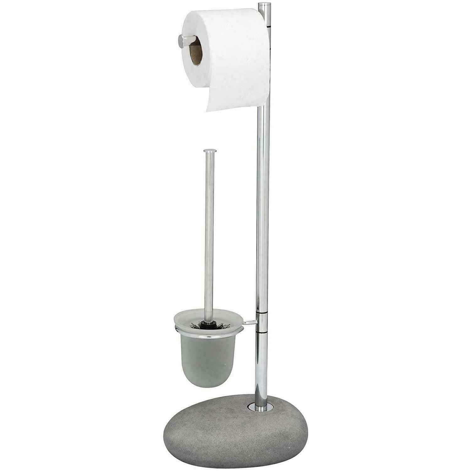Wenko 2-in-1 Toilet Brush Stand With Toilet Roll Holder Pebble Stone Grey/Silver