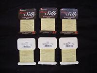 12 Gudebrod Champion 100% Pure Silk Thread 3 Ply Bead Cord Light Green Size D